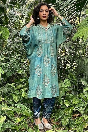 Sea Green Printed & Embroidered Kurta by Nida Mahmood