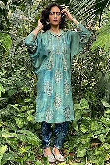 Sea Green Printed & Embroidered Kurta by Nida Mahmood