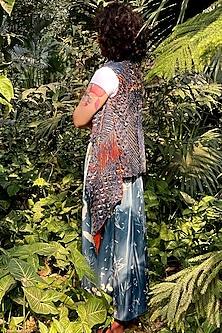 Sky Blue Dip-Dyed & Printed Skirt by Nida Mahmood