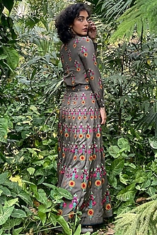 Muddy Grey Embroidered Skirt With Cancan by Nida Mahmood
