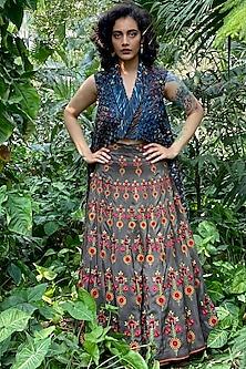 Muddy Grey Embroidered Panelled Skirt by Nida Mahmood