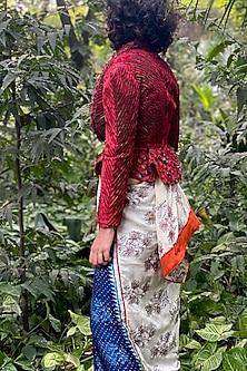 Deep Red Peplum Jacket by Nida Mahmood