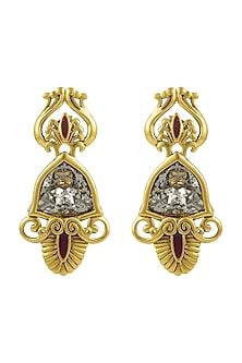 Gold Finish Enamled Patina Stud Earrings With Swarovski Crystals by Nida Mahmood X Confluence