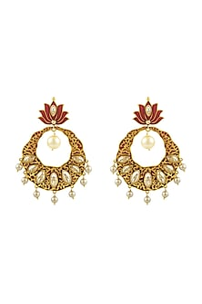 Gold Finish Enamled Lotus Earrings With Swarovski Crystals by Nida Mahmood X Confluence-SHOP BY STYLE
