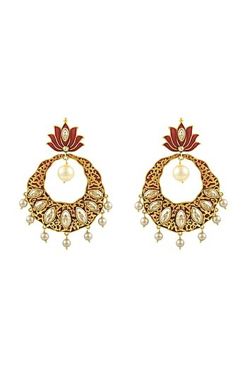 Gold Finish Enamled Lotus Earrings With Swarovski Crystals by Nida Mahmood X Confluence