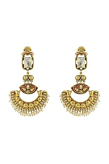 Gold Finish Enamled Chandbali Earrings With Swarovski Crystals by Nida Mahmood X Confluence-SHOP BY STYLE