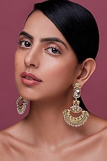 Gold Finish Enamled Chandbali Earrings With Swarovski Crystals by Nida Mahmood X Confluence