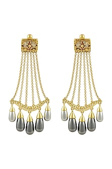 Gold Finish Enamled Mughal Earrings With Swarovski Crystals by Nida Mahmood X Confluence