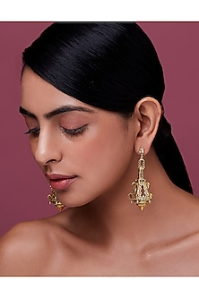 Gold Finish Enamled Chandelier Earrings With Swarovski Crystals by Nida Mahmood X Confluence