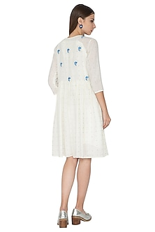 Off White Embroidered Placket Dress by Nida Mahmood