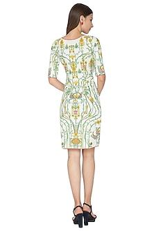 White Digital Printed Bodycon Dress by Nida Mahmood