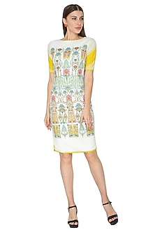 White Printed Bodycon Dress by Nida Mahmood