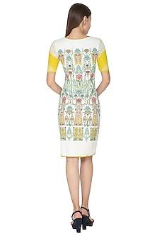 White Printed Bodycon Dress by Nida Mahmood