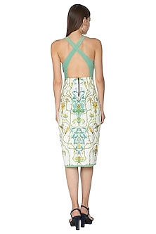 White Printed Lycra Dress by Nida Mahmood