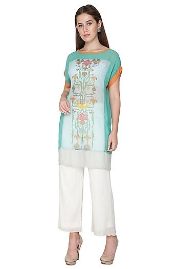Turquoise Embroidered Printed Dress by Nida Mahmood
