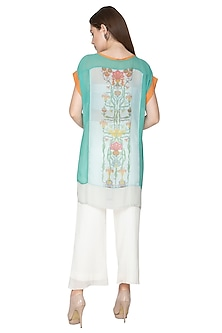 Turquoise Embroidered Printed Dress by Nida Mahmood