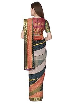 Maroon Embroidered Saree Set by Nida Mahmood