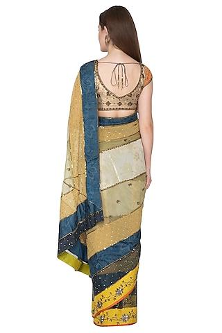 Nude Embroidered Saree Set by Nida Mahmood