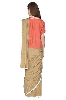 Beige Printed & Embroidered Saree Set by Nida Mahmood