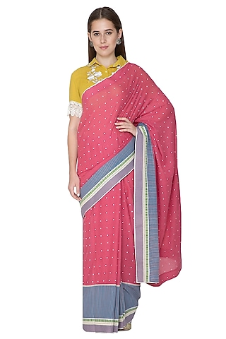Blush Pink Printed & Embroidered Saree Set by Nida Mahmood