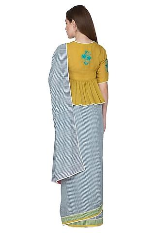 Cobalt Blue Printed & Embroidered Saree Set by Nida Mahmood