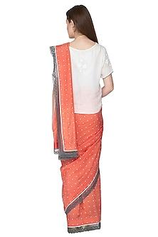 Peach Printed & Embroidered Saree Set by Nida Mahmood