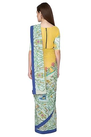 Yellow Digital Printed Saree Set by Nida Mahmood