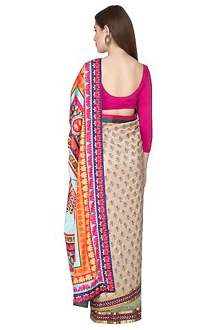 Beige Embroidered Printed Saree Set by Nida Mahmood
