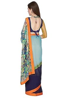Cobalt Blue Printed Saree Set by Nida Mahmood