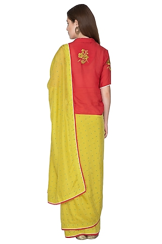 Lime Yellow Printed & Embroidered Saree Set by Nida Mahmood