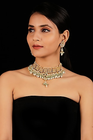 Gold Finish Pearls Necklace Set by Namasya