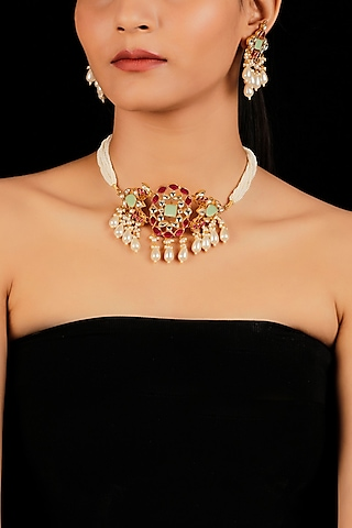 Gold Finish Pearl Drops Necklace Set by Namasya