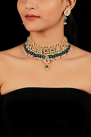 Gold Finish Pearl Drops & Agate Necklace Set by Namasya