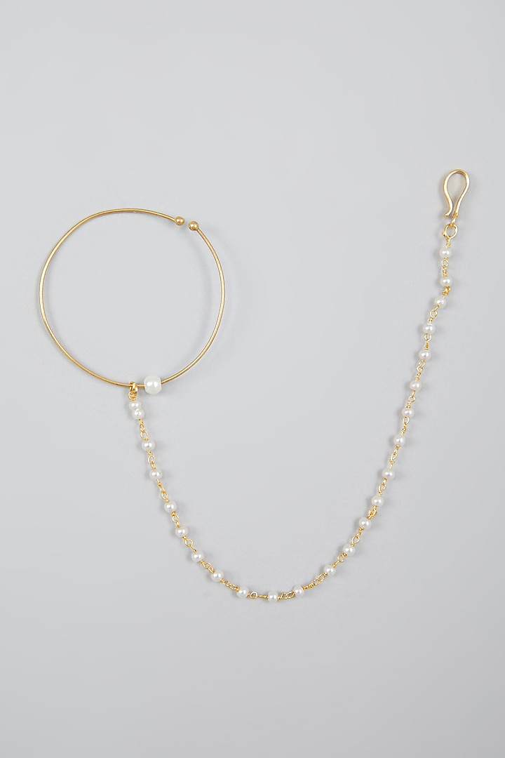 Gold Finish Kundan Polki Nose Ring by Namasya
