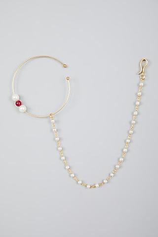 Gold Finish Kundan Polki & Pearls Nose Ring by Namasya