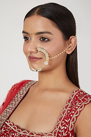 Gold Finish Pearl Nose Ring With Attached String by Namasya