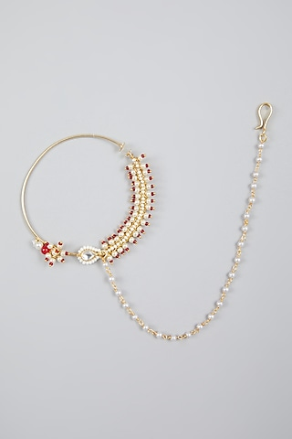 Gold Finish Kundan Polki Nose Ring With Attached String by Namasya