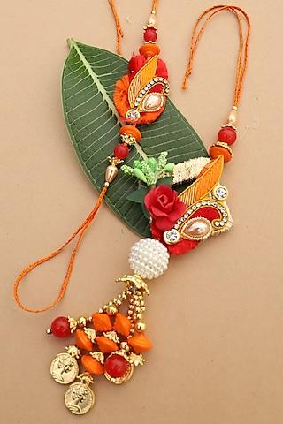 Red & Orange Floral bhaiya-Bhabhi Rakhi Set by Namasya