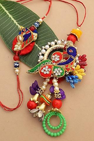 Multi Colored Peacock bhaiya-Bhabhi Rakhi Set by Namasya