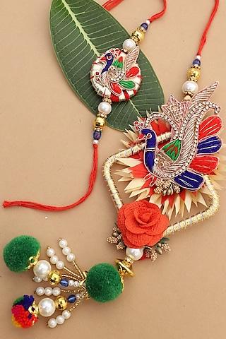 Multi Colored Peacock Motif bhaiya-Bhabhi Rakhi Set by Namasya