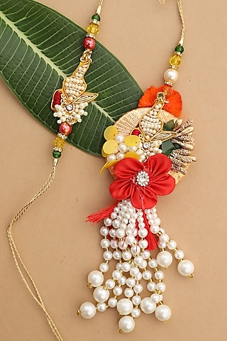 Gold & Red Beaded Floral bhaiya-Bhabhi Rakhi Set by Namasya