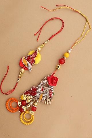 Red & Yellow Floral bhaiya-Bhabhi Rakhi Set by Namasya