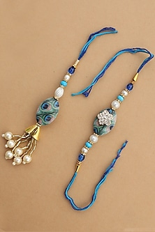 Blue Peacock Feather bhaiya-Bhabhi Rakhi Set by Namasya-DESIGNER RAKHIS