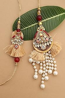 Red & Gold Pearl Tassel bhaiya-Bhabhi Rakhi Set by Namasya-SEND RAKHIS TO USA