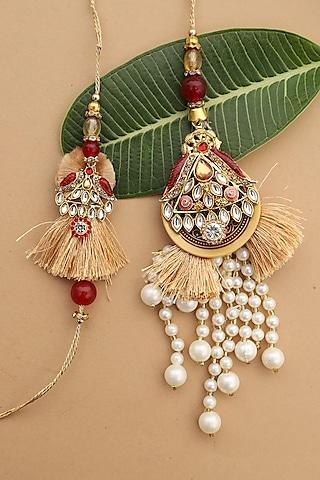 Red & Gold Pearl Tassel bhaiya-Bhabhi Rakhi Set by Namasya