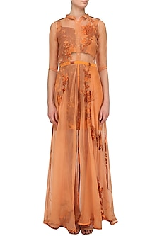 Rust Orange Applique Work Maxi Dress and Bustier Set by Nikita Mhaisalkar