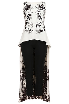 White Printed High Low Cape and Black Pants Set by Nikita Mhaisalkar