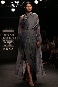 Slate Grey Digitally Knit Printed Organza Over Coat by Nikita Mhaisalkar