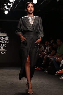 Grey High Slit Wrap Dress with Belt by Nikita Mhaisalkar
