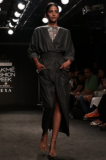 Grey Badla Work Bustier Skeevy by Nikita Mhaisalkar